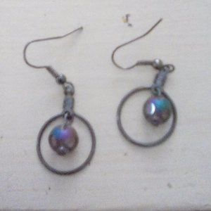 Black hoop and Luinecent rainbow ball Earrings